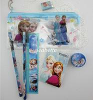 Wholesale Frozen stationery set for Students Office School Supplies Frozen Cases Bag book pencils Ruler eraser sharpener bag DHL set