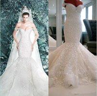 Wholesale 2014 New Arrival Michael Cinco Sheer Backless Garden Wedding Dresses Mermaid Off Shoulder Elegant Ivory Lace Appliques Sequins Bridal Gowns