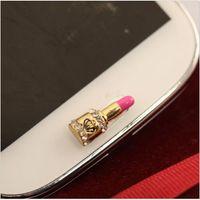 Wholesale 2015 Mobile Cellphone Sticker D Diamond Lipstick Home Button Sticker For Samsung Galaxy s3 s4 s5 Note