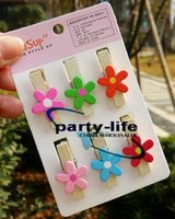 Wholesale 6pcs set Color Flower shape Wooden Clothes Socks Memo Photo PostCard Clip sets