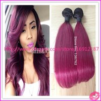 Cheap 2015 HOT !!! Dark Root #1b#burgundy Two 2 Tone Ombre Hair Weaves Ombre Virgin Indian Hair Weft Extensions 3pcs lot