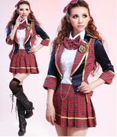 Wholesale Hit song clothes cheerleading costume classes serving students plaid suit dress uniforms nightclub DS
