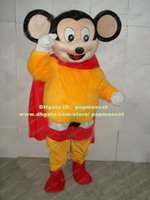 Wholesale Lovely Black Mighty Mouse Mice Mascot Costume Mouselet Rat Strong Man Muroidea Wearing Red Cloak Mascotte No