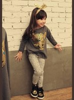Wholesale Retail New Girls Clothing Sets Baby Kids Clothes Children Clothing Full Sleeve T Shirt Leopard Legging
