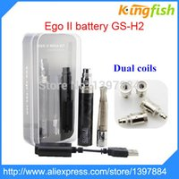 Cheap Wholesale-Ego II battery GS-H2 e cigarette atomizer with dual coils Mega Kit 2200mah ego battery with h2 atomizer e cigarette kit e cig