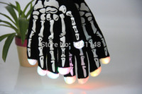 Wholesale pairs Novelty Skeleton Hand Bone LED Rave Light Finger Lighting Flashing Glow Gloves Black for Christmas Party Clubs