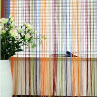 100% Polypropylene Pleated Home,Hotel,Cafe,Office,Other Romantic Line Partition 1mX2m Interior String Curtain Door Window Drapes Panel Nlinds Living Room free shipping