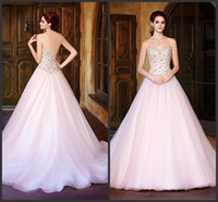 alexia bridal gowns - A Line Wedding Dresses Court Train Alexia V1339 Kitty Chen Blush Sweetheart Neckline Sleevelss Beaded Bridal Gowns Covered Button