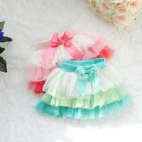 Wholesale 2015 Summer girls cute color bars veil skirt tutu skirt Four Seasons Dance Skirt Cake TUTU Princess Skirts C001