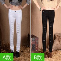100 cotton jeans for women - Fashion Boutique black and white slim ripped jeans for women woman cotton denim capris full pants spring and autumn