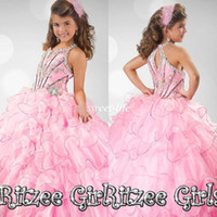 Wholesale High Quality Light Pink Glitz Long Girls Pageant Dresses Ball Gown Beading Spaghetti Ruffled Organza Sweet Kids Flower Girl Dresses