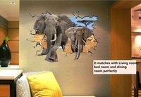 african art kids - New Arrival Delicate African Animal Removable PVC D Dual Elephant Wall Sticker Home Kid Room Art Decal Mural Decor cm