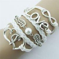 achat en gros de boutiques de charme-Deux cœurs Bracelets d'amour Bracelets colline IPC mode Bricolage Style Cuir Cute Infinity Charm Bracelet Argent shopping