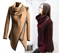 Wholesale Europe s plus size fashion women popular wool coat jacket long designing irregular hem spliced leather turtleneck casual coat