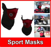Wholesale New Neoprene Winter Neck Warm Face Mask Veil Sport Motorcycle Ski Bike Biker Sport Masks Adult Beanie Hats Cap Half Face Ski Mask