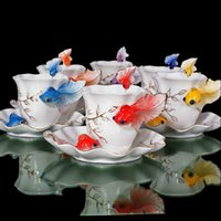 Wholesale Festival Gift painting creative cup Bone China D Color Emamel Porcelain animal Goldren fish mug saucer spoon tea coffee set