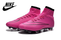 shoe factory - Nike Mercurial Superfly FG Men Cleats Pink Red Cristiano Ronaldo Football Shoes Factory Outlet Soccer Shoes Leather CR7 Football Boots