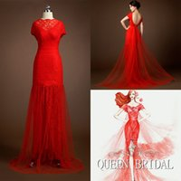 custom made cheongsam - 2015 Custom Made Cheongsam Lace up Backless Split Front Lace Appliques Red Sexy Mermaid Chinese Dress Qipao QUEEN BRIDAL