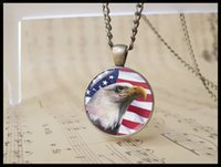 flag bald eagle - handmade American Bald Eagle flag pendant Necklace vintage USA independence day Cabochon jewelry usa national flag