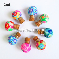 Cheap Wholesale glass polymer clay bottle with cork,1.5ml small essential oil bottle necklace pendant bottle Factory Price