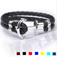 Wholesale Fashion personalized multilayer Leather men weave bracelet boat anchor Alloy Handmade charm bangle jewelry mix colors