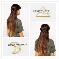 Wholesale 2015 Fashion Gold Plated Simple Moon Triangle Hair Clips Barrettes for women Girl Gift Prices