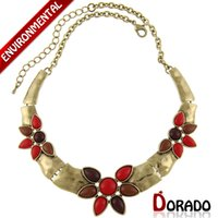 Cheap (Min Order $10) New Arrival Fashion Colorfully Resin Simulated Diamond Flower Link Chain Choker Necklace