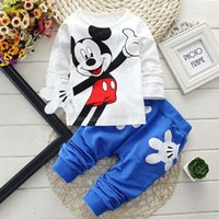 sport clothing wholesale - Minnie Mouse Sets For Baby Boys Girls Casual Outfits Clothing Mickey Cartoon Kids Print T Shirts Sport Pants Trousers PC Track Suit Costume