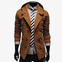 beige trenchcoat - Fall Mens Hooded Trench Coats Double Breasted Korean Men Coat Jacket Hoodies Beige Navy Black Fashion Casual Trenchcoat Men