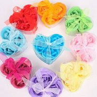 Wholesale Hot Sale Per Box Romantic Heart Shaped Rose Flower Soap Bath Soap Flowers For Popular Wedding Favor Valentine s Day Gifts