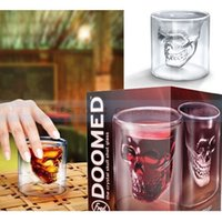 best vodka - Best Promotion ml Double Wall Skull Skeleton Whisky Wine Glass Cup Crystal Skull Head Vodka Shot Wine Glass Novelty Cup