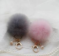 Wholesale Cute Genuine Leather Rabbit fur ball plush key chain for car key ring Bag Pendant car keychain