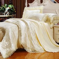 Wholesale Luxury Bedding Set Tencel Modal Satin Silk Jacquard Cotton Duvet Cover Set Bed Sheet Set King Queen Size Halloween Christmas sabanas White