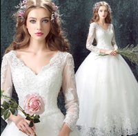 Wholesale Angelwedding Luxurious Lace Sexy Princess Bride long sleeved dress new custom