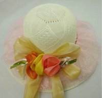 Wholesale Large canopies female Korean summer hollow bud breathable mesh hat large brim sun hat lady hat topped
