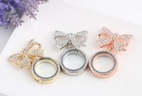 Wholesale 10PCS MM Floating Locket Pendant Rhinestones Brooches Flower Bowknot Pins For Women Fashion Jewelrys