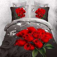 achat en gros de reine feuille de taille définie coton-Hot Sell 3D Lllusion Red Rose couettes 4 pcs Literie Ensembles Queen King Size 100% Coton Couette Housse de Couette Flat Fitted Bed Feuille Feuille