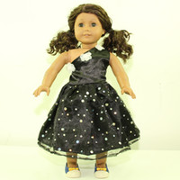 Wholesale 2015 New Christmas Gifts For Children Girls Doll Accessories Fashion Black With Flower Clothes For American Girl Dolls Dress