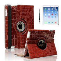 Wholesale Brown Crocodile Pattern Rotating Inch Tablet PC Stands Case Cover for ipad