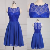 Wholesale New Design Sleeless Lace Bridesmaids Dresses High Quality Jewel Neck Mini Cheap Chiffon Short bridesmaid dress