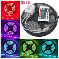 Wholesale RGB LED Strip M SMD leds m Waterproof Non waterproof Strips V A Beautiful Decorative LED Lighting IR Keys Remote Controller