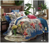 Cheap 2015 Luxury Blue paisley floral bedding set 100% Egyptian cotton sheets king queen size quilt duvet cover bed quality bedspread