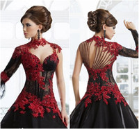 beads stand - Black and Red Lace Wedding Dresses Ball Gown Stand up High Neck Sexy Illusion Long Sleeves Sheer Bodice Victorian Vintage Bridal Gown Gothic