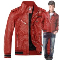 Cheap Red Faux Leather Bomber Jackets PU Coats Mens Fashion Winter Stand Collar Long Sleeves Villus