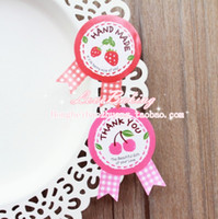 Wholesale FKT048 bow tie strawberry cherry seal sticker cup gift box sticker baking package cake box decoration cm