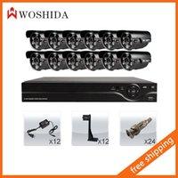 Wholesale 12CH Security Camera Set DVR HD TVL CCTV Bullet Camera Woshida