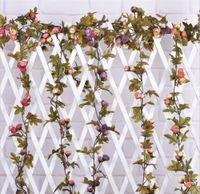 Nuevo 2015 decoración de la boda de la sede artificial falso Rose vid de la flor que cuelga de la guirnalda de la boda Decoración envío libre