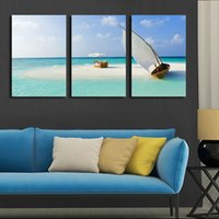 Cheap 3 Panel Modern Wall Art Home Decoration Canvas Painting Canvas Prints Sea Scenery Beach Sailing Pictures Prints Art (Unframed)