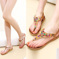 summer shoes woman - Hot Sales Women Ladies Flat Toe Post Shoes Womens Flip Flops Boho Sandals Summer Beach ex57