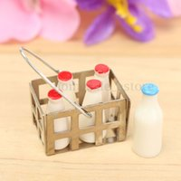 Wholesale Dollhouse Miniature Bottles of Milk in Metal Silver Basket Accessories